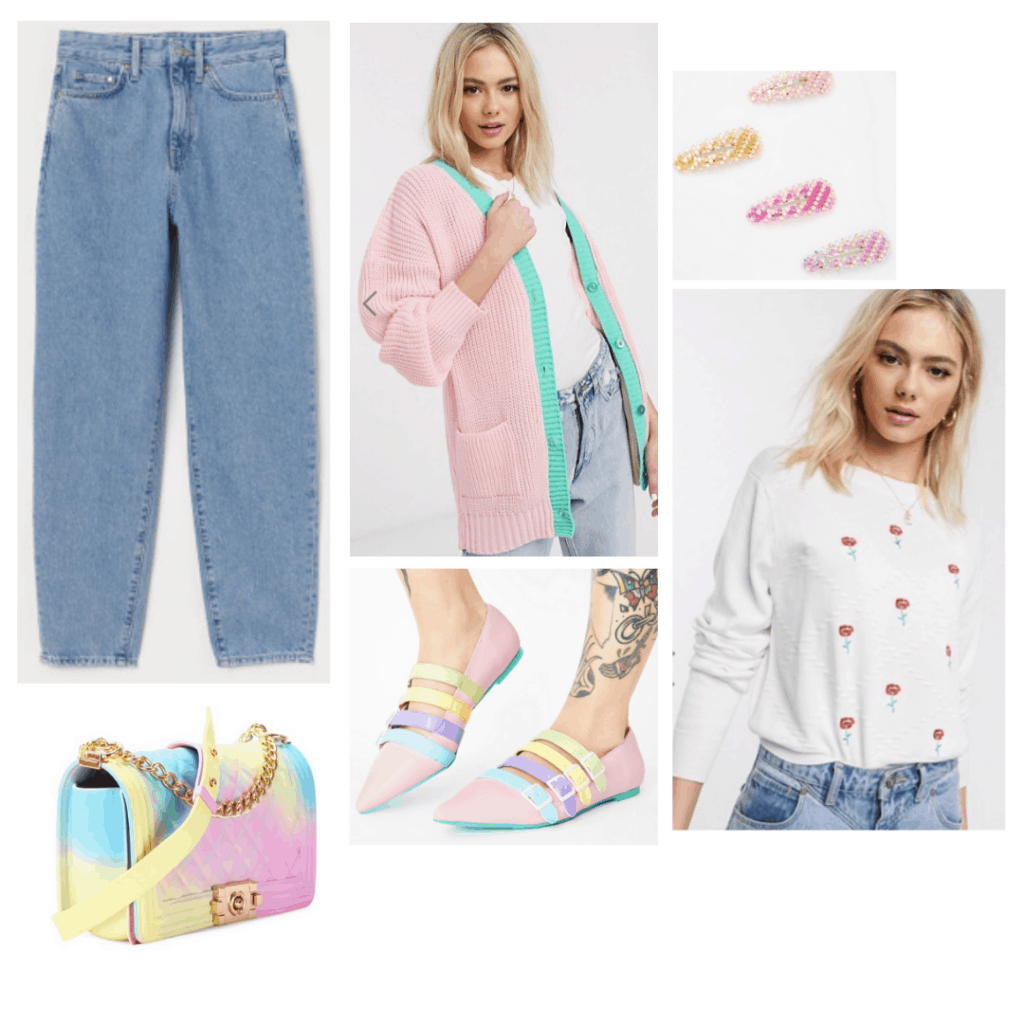 Sex Education fashion: Outfit inspired by Lily's style with pastel cardigan, mom jeans, pastel bag