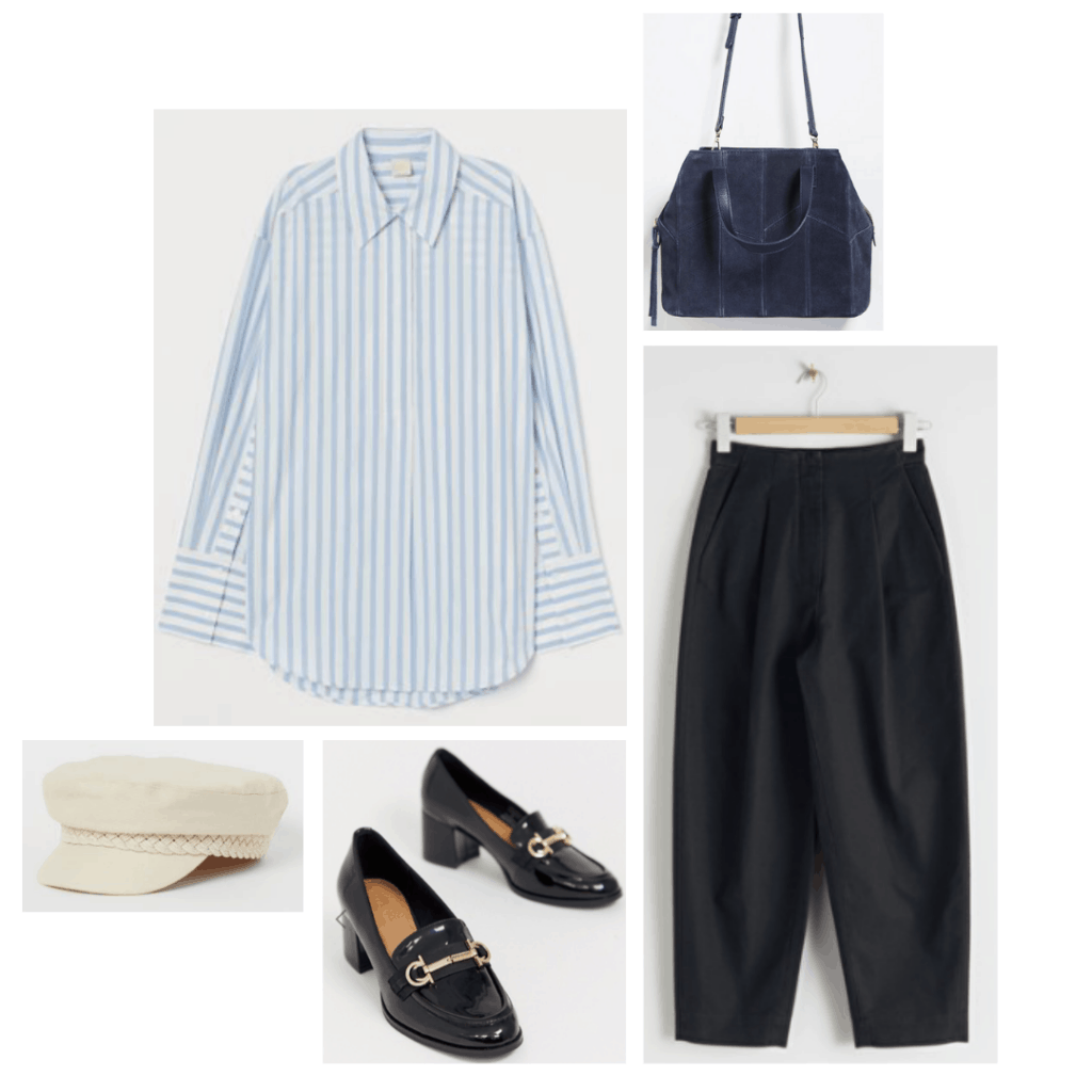Outfit inspired by Miranda from Sex and the City with striped shirt, black trousers, loafers, tote bag