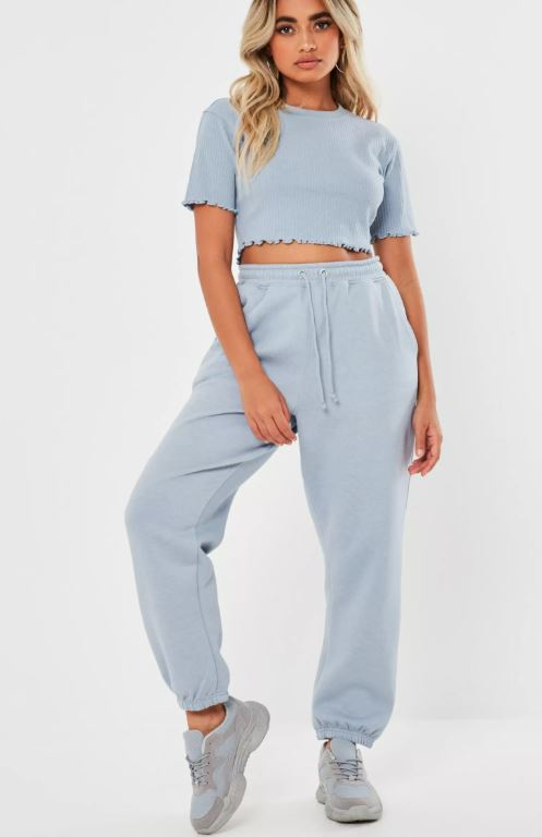 Spring trends to start wearing now - pastel blue matching set from Missguided