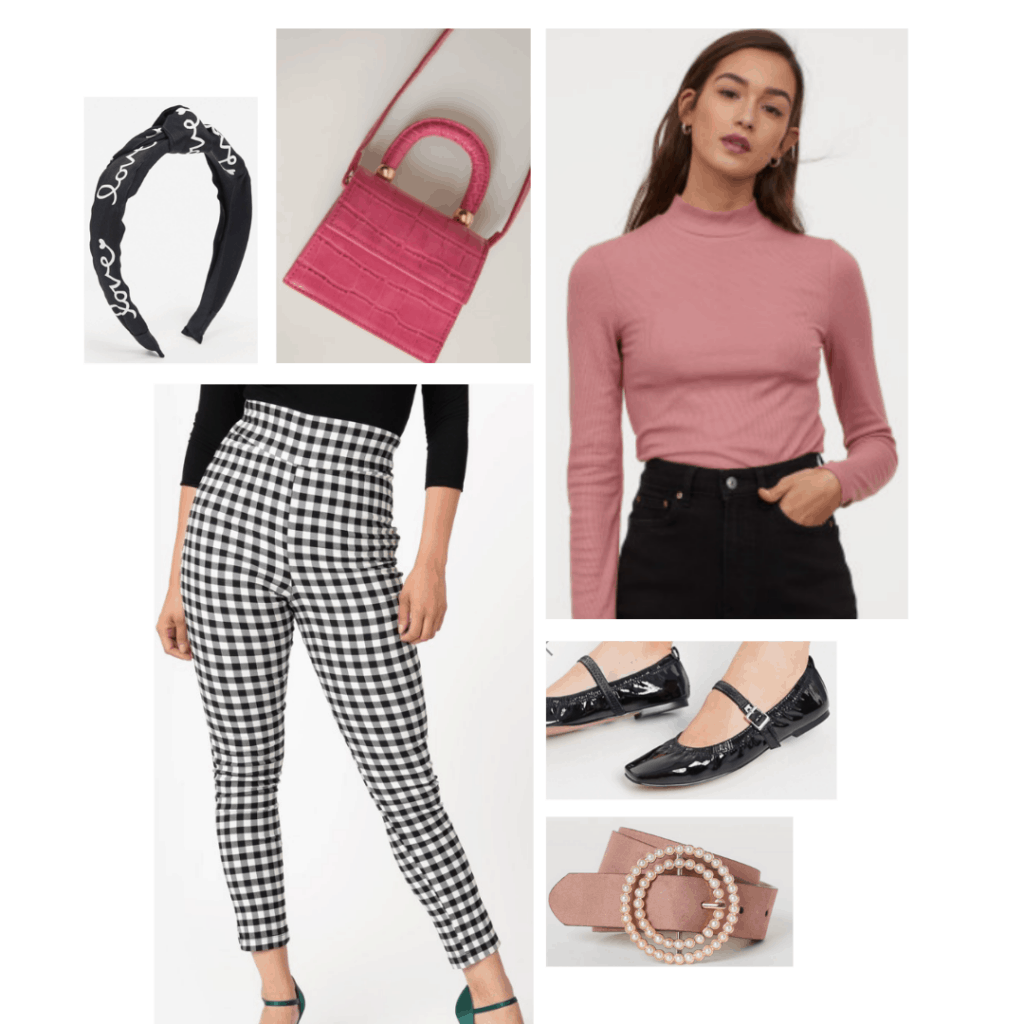 Outfit inspired by Mrs Maisel's style: Gingham pants, pearl belt, pink sweater, patent ballet flats, pink purse and bandana headband