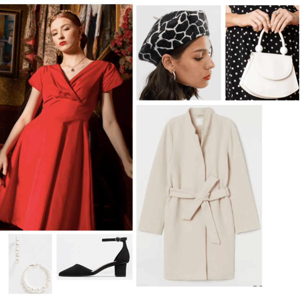 Mrs Maisel fashion: Outfit inspired by Midge Maisel's all red outfit with red dress, cream coat, pearl earrings, black sandal heels, printed hat and mini bag