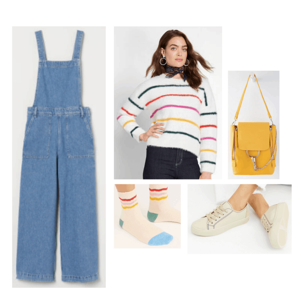 Outfit inspired by Ola's style from Sex Education with overalls, sneakers, striped sweater, yellow bag