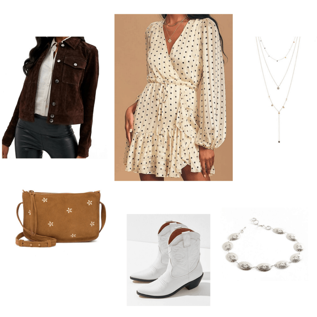 Western outfit focused on a polka dot dress with brown fringe jacket, white cowgirl boots, silver jewelry, suede bag
