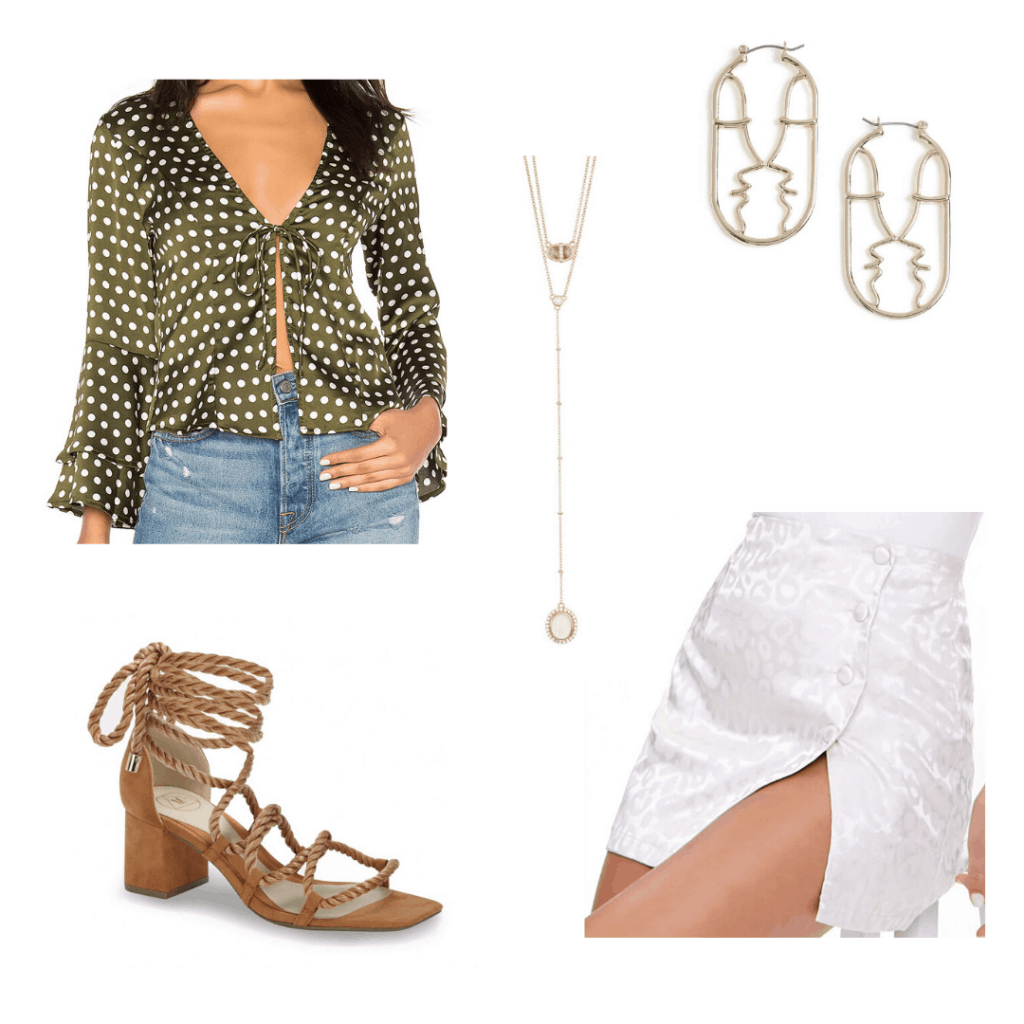 How to wear polka dot top with cheetah print skirt, wrap sandals, gold jewelry