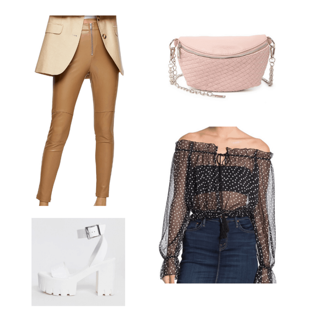 Outfit with polka dot off shoulder top, leather pants, fanny pack, chunky white heels