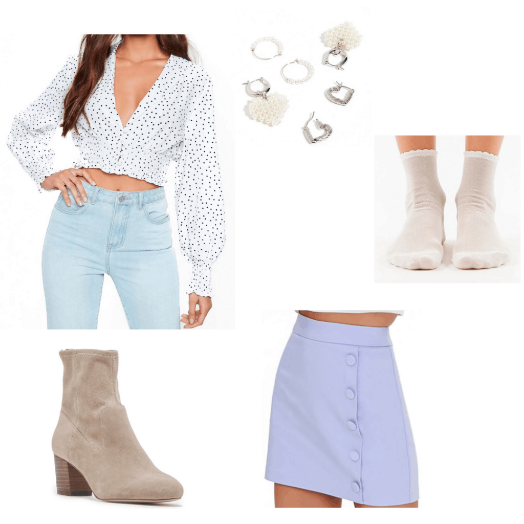 How to wear polka dots: Pastel outfit with polka dot crop top, lavender skirt, taupe suede booties, jewelry, socks
