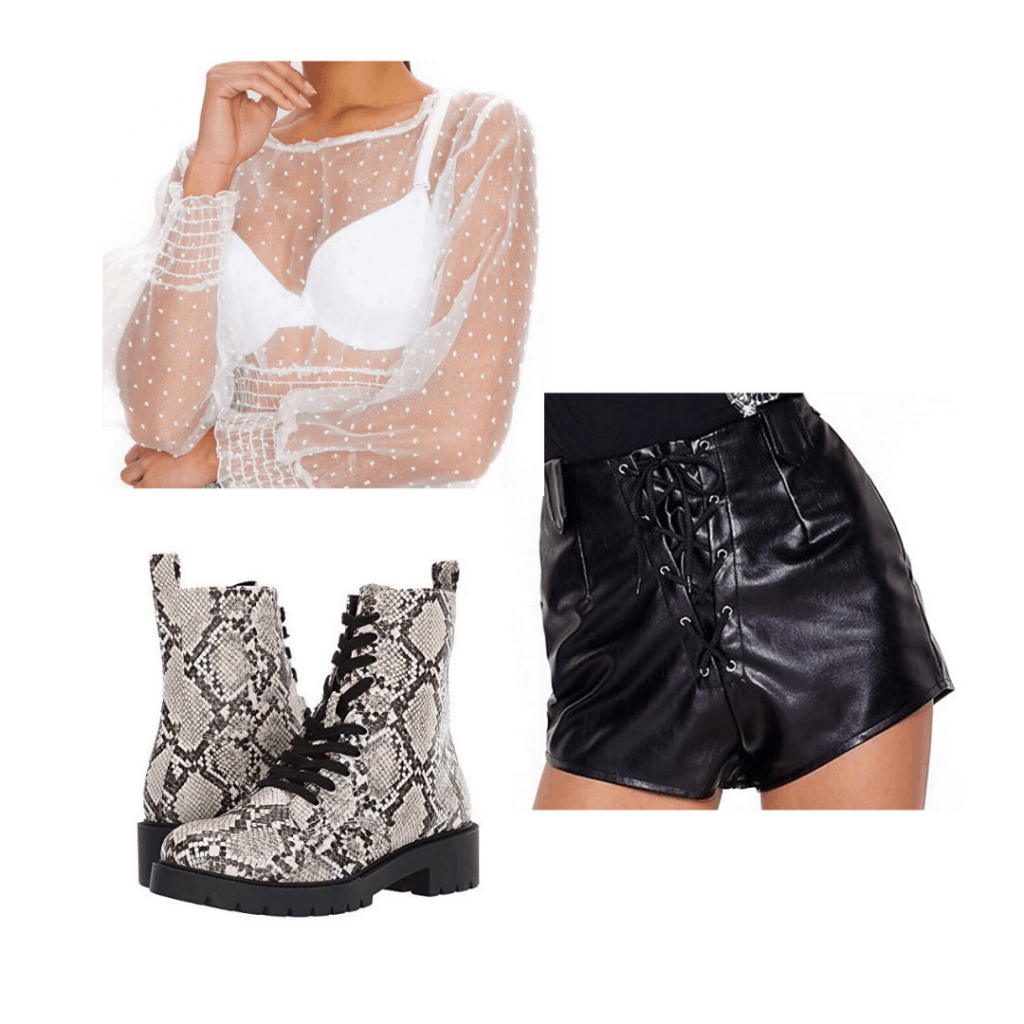 Cute party outfit idea with sheer polka dot top, snakeskin combat boots, and leather shorts