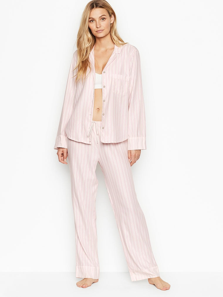 Victoria's Secret striped pink flannel pajamas