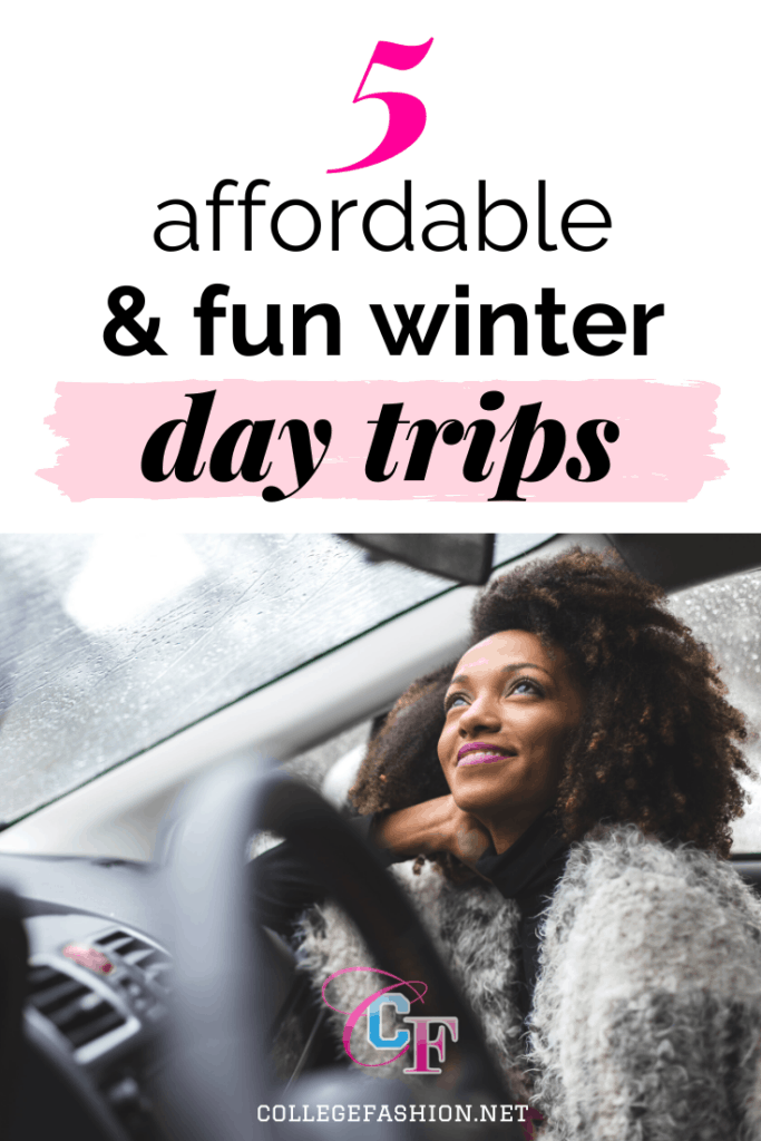 5 affordable and fun winter day trips ideas, plus what to wear - photo of a woman in a car in winter