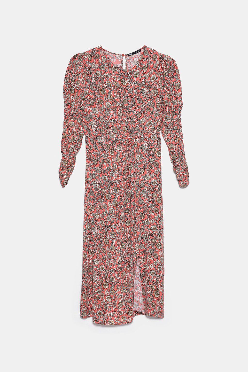 Coral draped midi dress
