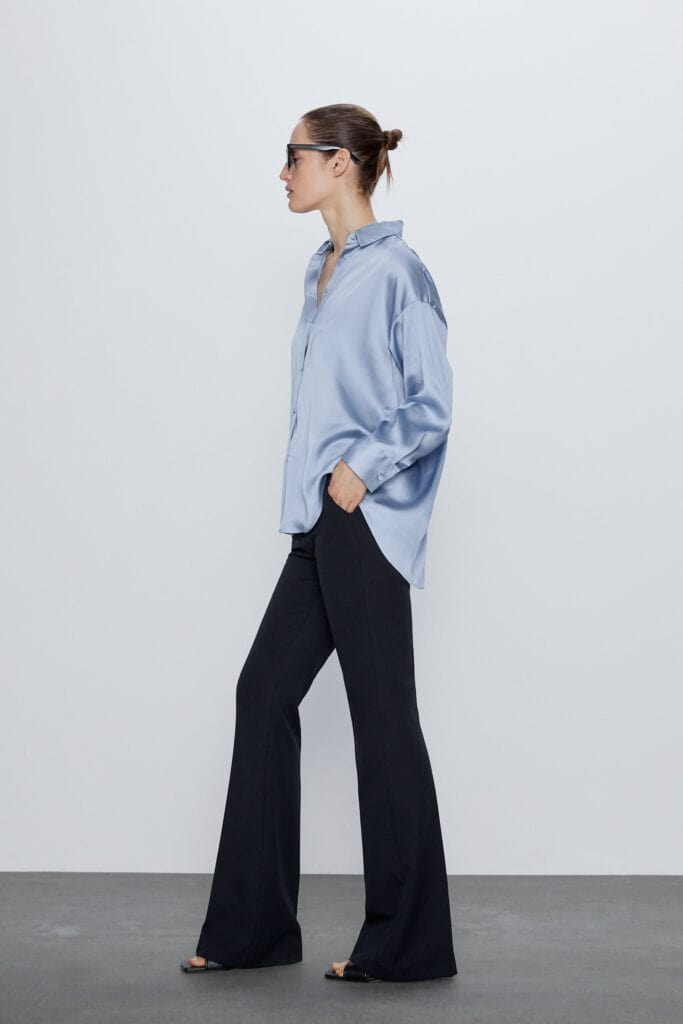 Spring trends to wear right now - Pale blue blouse from Zara