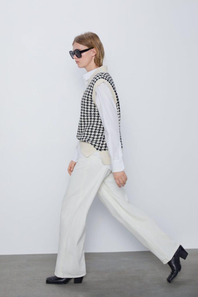 Zara houndstooth sweater vest