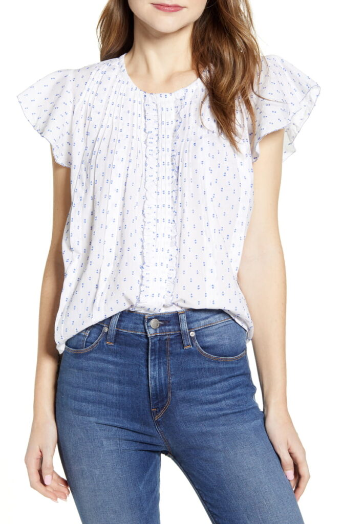 Spring pieces for 2020: Lucky Brand flutter sleeve top