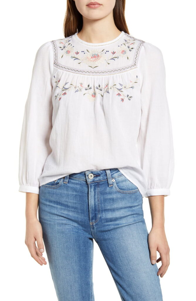 Spring pieces: Lucky Brand embroidered yoke peasant blouse