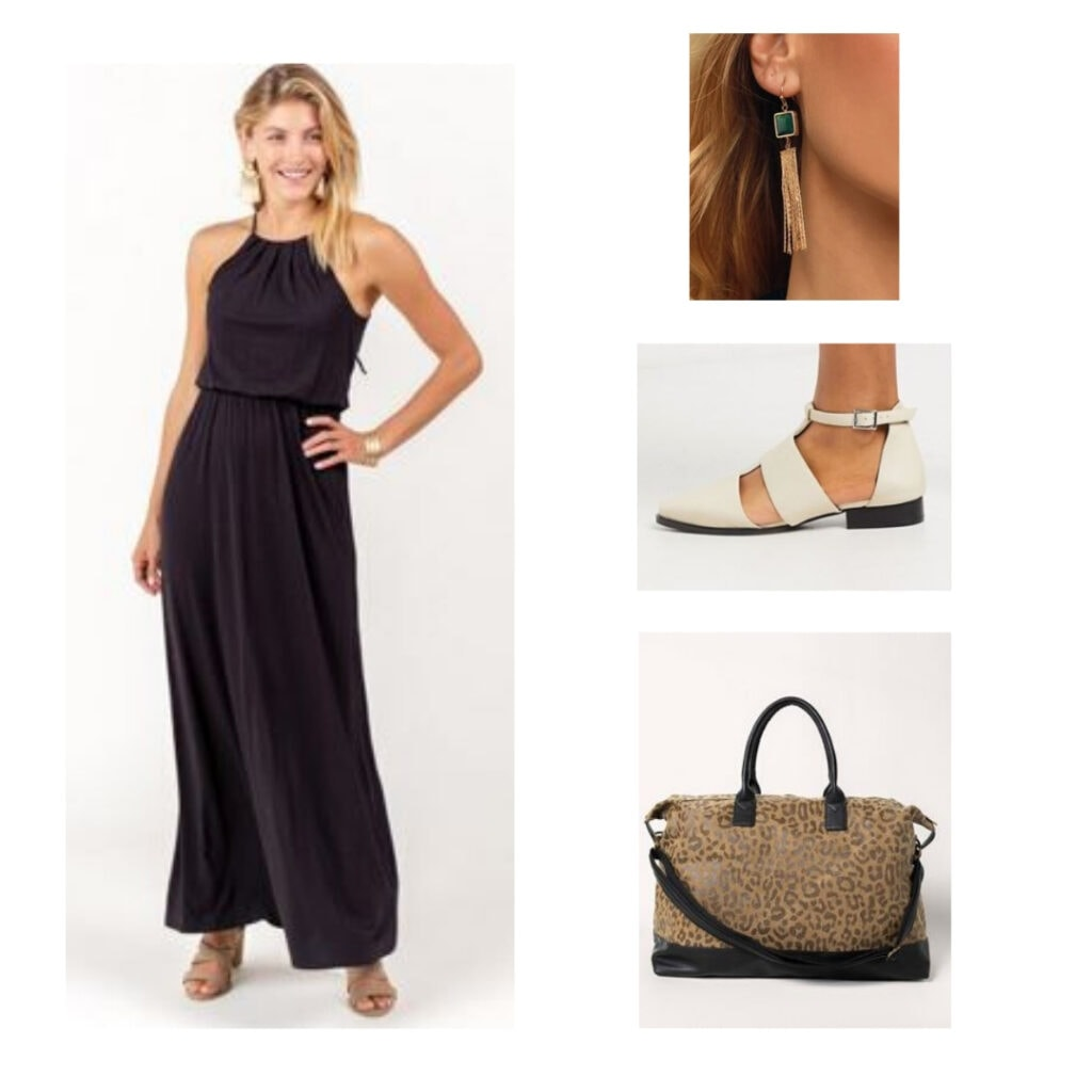 Chic airport outfit: Black maxi dress, green and gold earrings, beige flats, leopard tote bag.