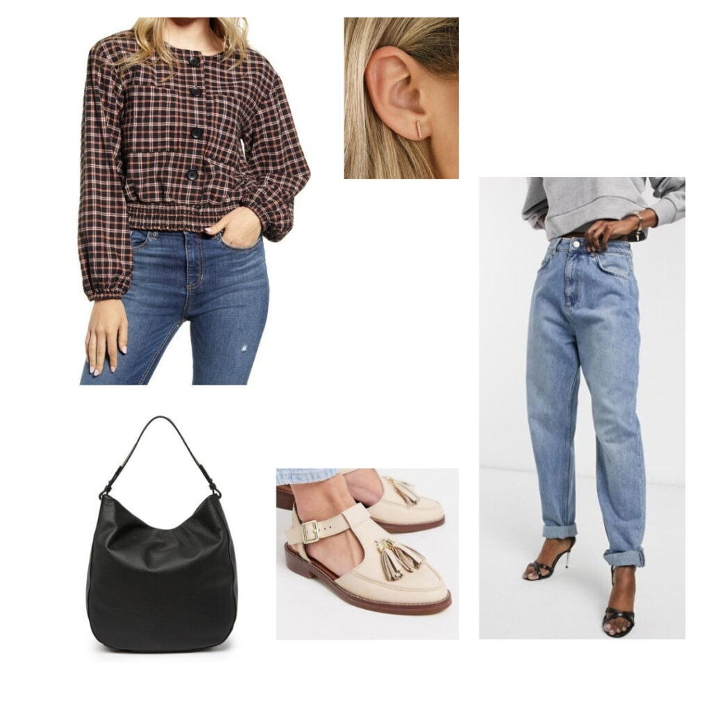 Plaid blouse, rose gold earrings, mom jeans, tassel loafers, black tote bag.
