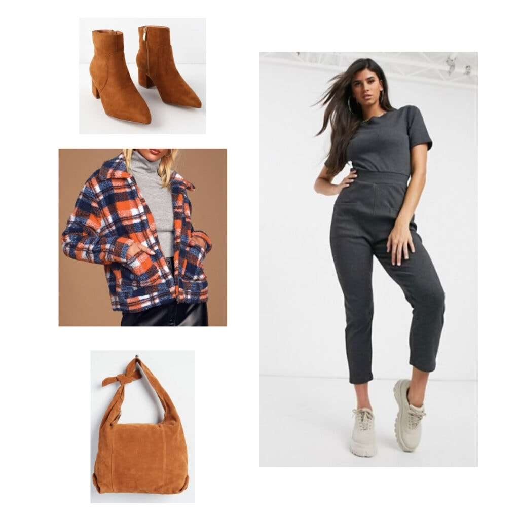 Plaid teddy jacket, grey jumpsuit, brown boots, brown tote bag.