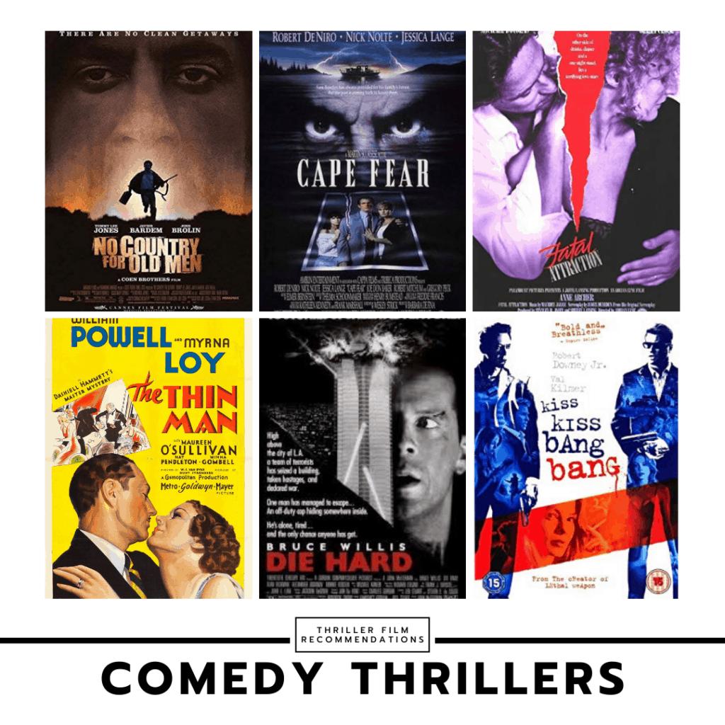 Comedy thriller movie collage