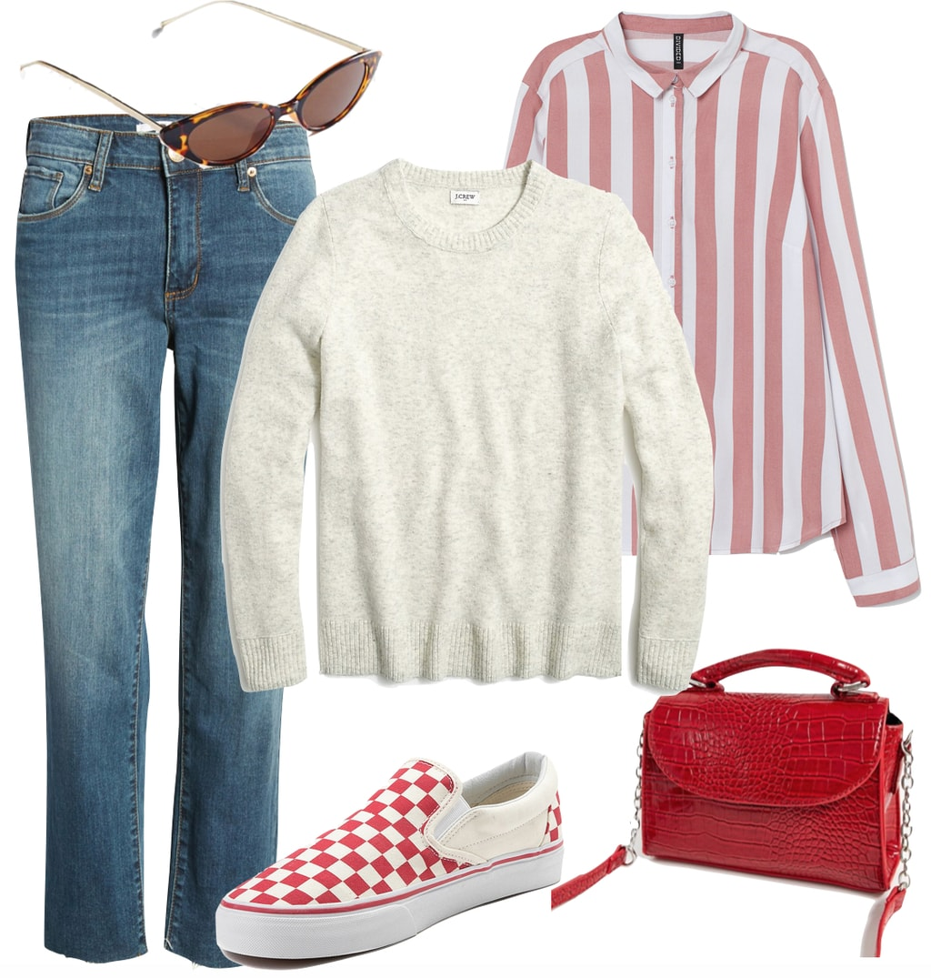 Emma Roberts Outfit 1: cropped jeans, red and white vertical striped shirt, off-white crewneck sweater, tortoise cat-eye sunglasses, red croc crossbody bag, and red and white checkered Vans slip on sneakers