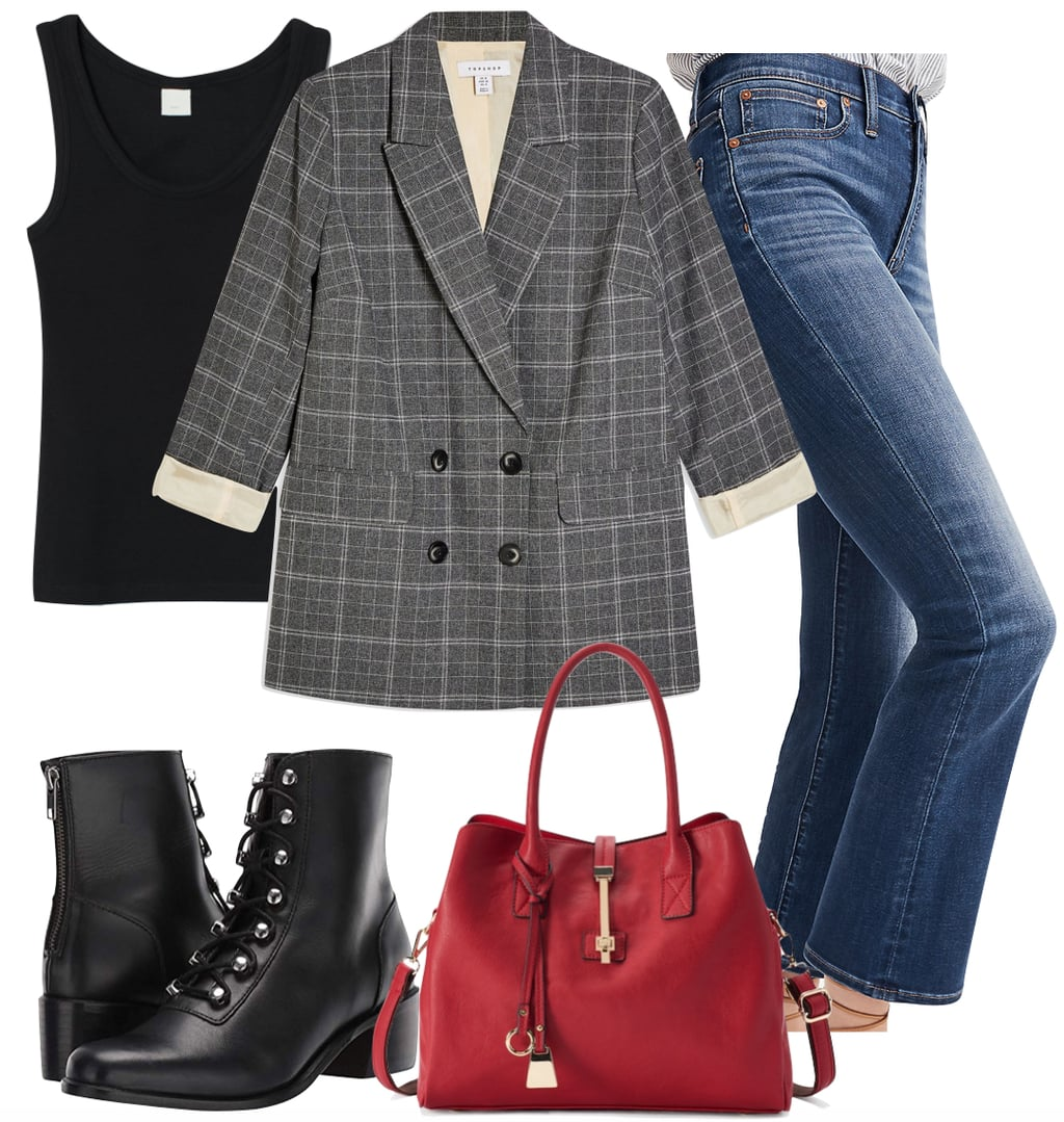 Emma Roberts Outfit 2: black tank top, gray checked oversized blazer, cropped demi-boot jeans, black lace-up boots, and a red satchel bag