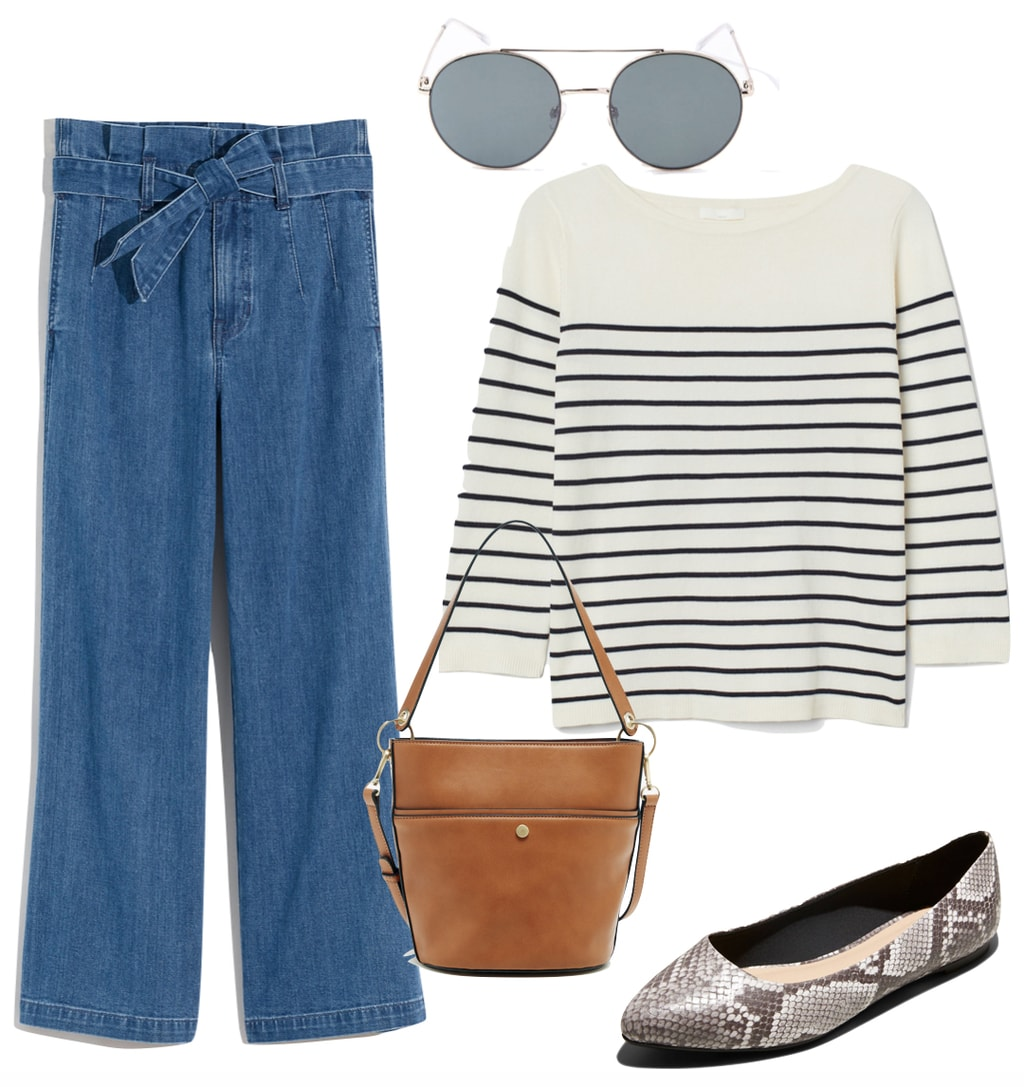 Emma Roberts Outfit #3: cropped tie-waist paperbag jeans, striped crewneck sweater, round brow bar sunglasses, brown faux leather bucket bag, and snake print ballet flats