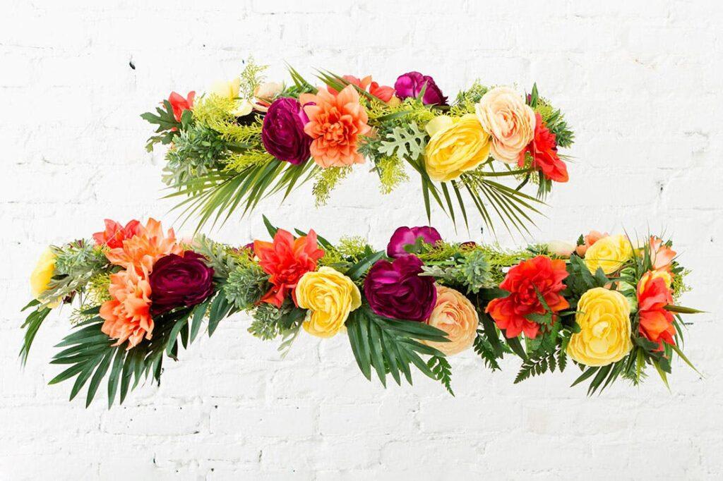 Spring DIYs: flowers hanging in stacked chandelier