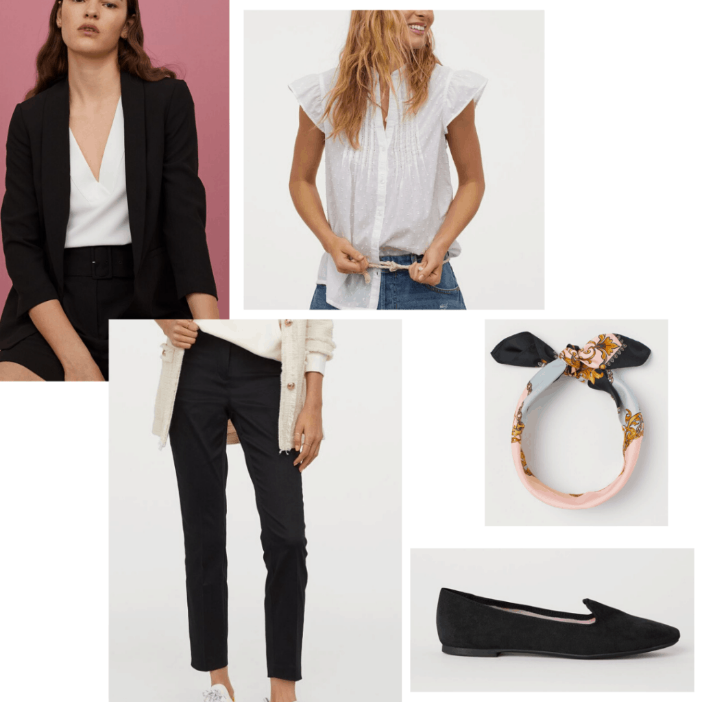 Black and white chic French girl outfit with blazer, slacks, blouse, loafers, and scarf from H&M