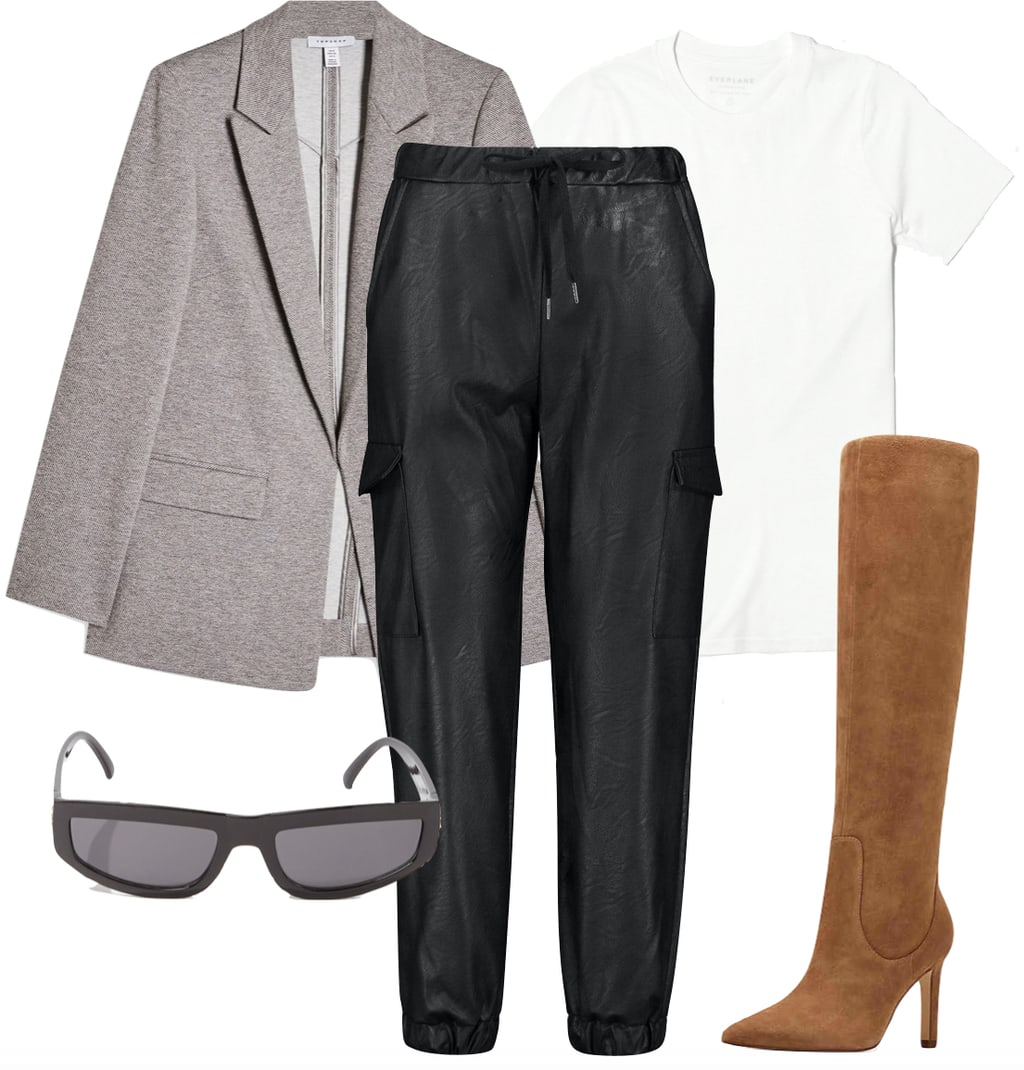 Gigi Hadid Outfit: gray oversized blazer, white crewneck t-shirt, black faux leather cargo joggers, black rectangle sunglasses and brown knee high pointy toe boots