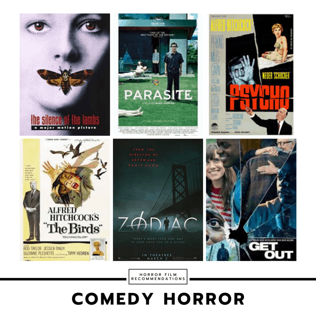 Horror movie recommendations collage