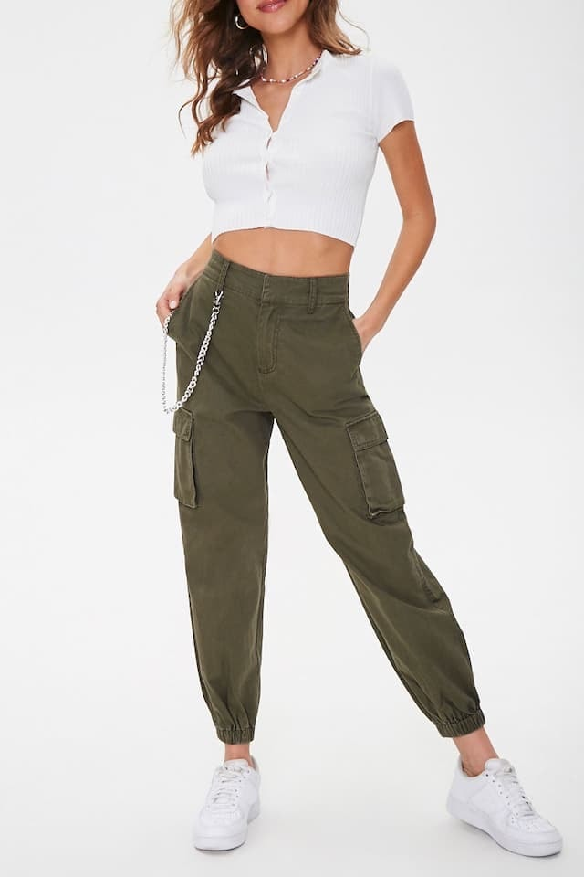 Product photo of green cargo pants from Forever 21