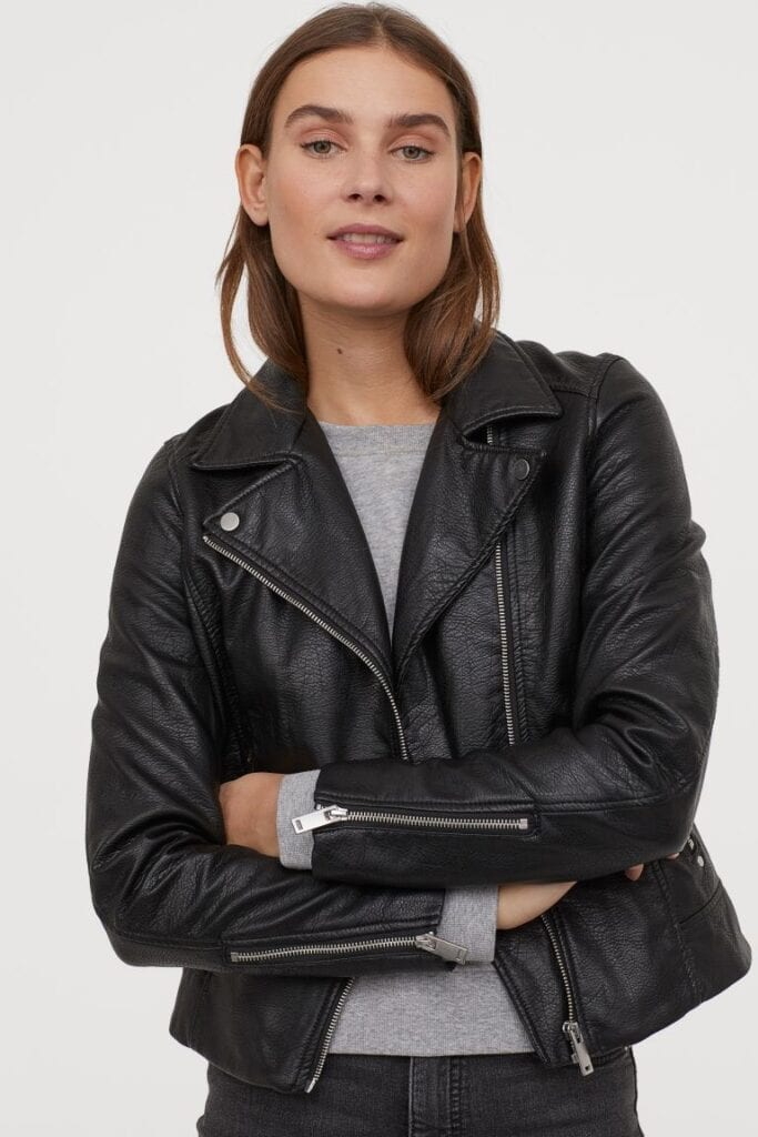 Product photo of a leather jacket from H&M