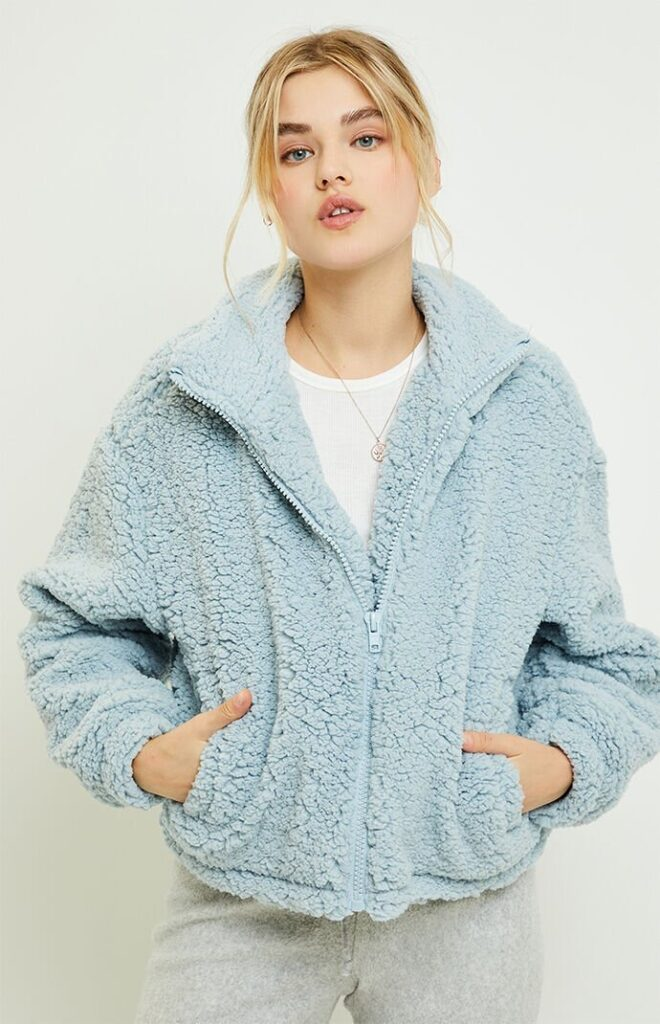 Product photo of a blue coat from PacSun