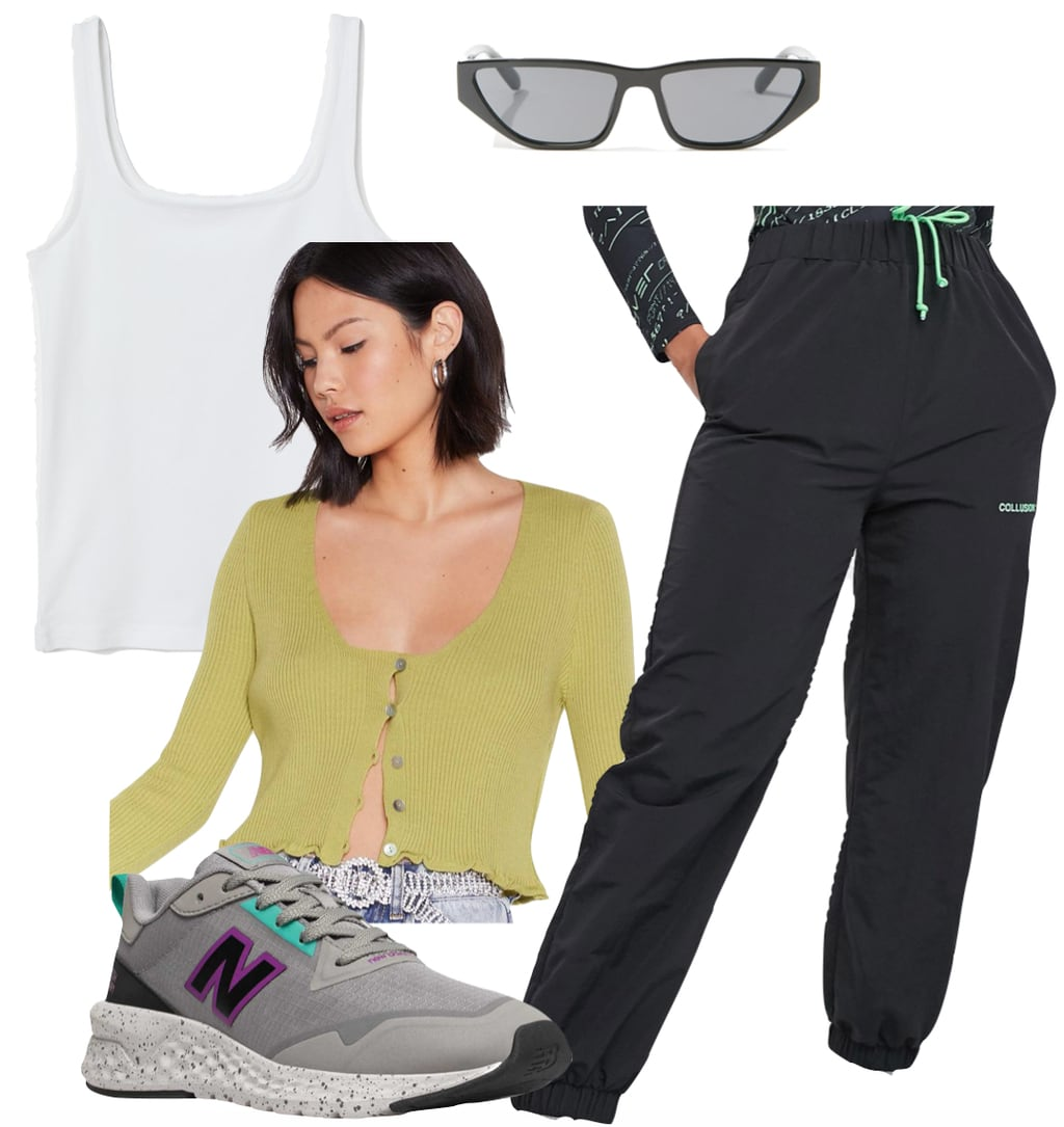 Kourtney Kardashian Outfit: white tank top, black nylon jogger pants, lime green ribbed cardigan sweater, New Balance gray sneakers, and black slim sunglasses