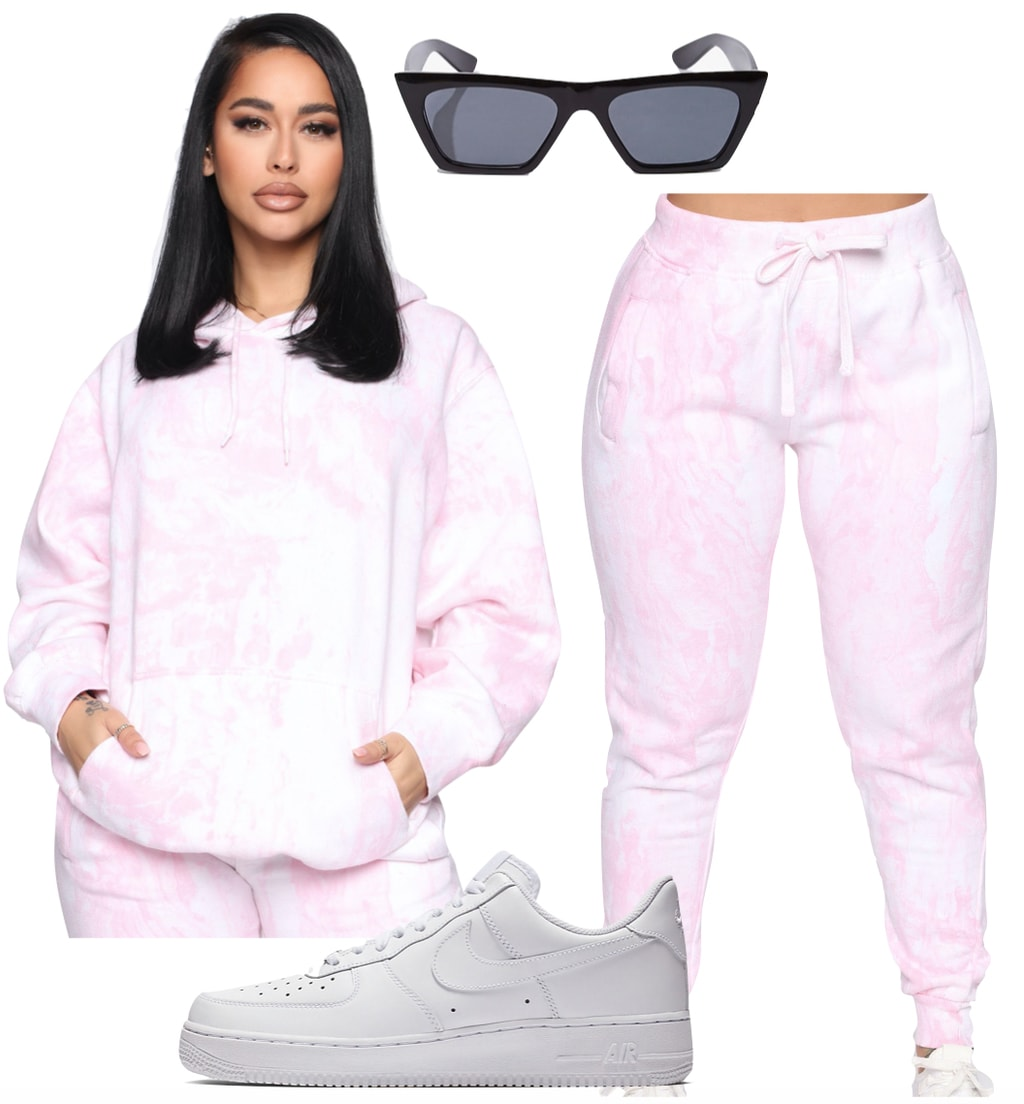 Madison Beer Outfit #3: pink tie dye hoodie, pink tie dye sweatpants, black rectangle sunglasses, and white low top Nike Air Force 1 sneakers