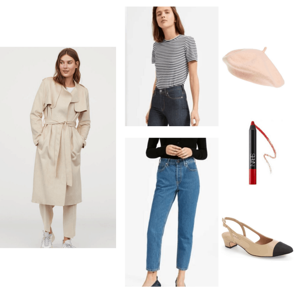 Casual French girl outfit with H&M trench coat, Everlane striped tee and jeans, cap toe heels, pink beret and NARS Dragon Girl red lipstick