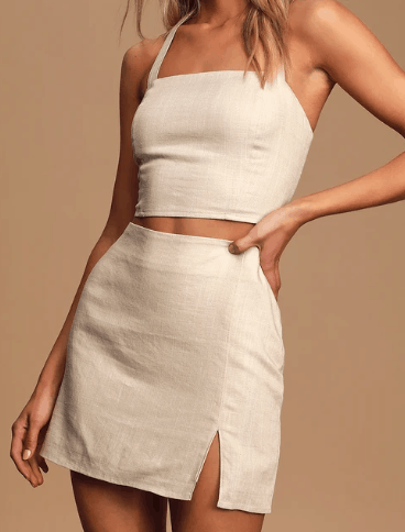 Fashion tips for big busts - buy separates; Product photo of a Lulu's beige skirt and top set