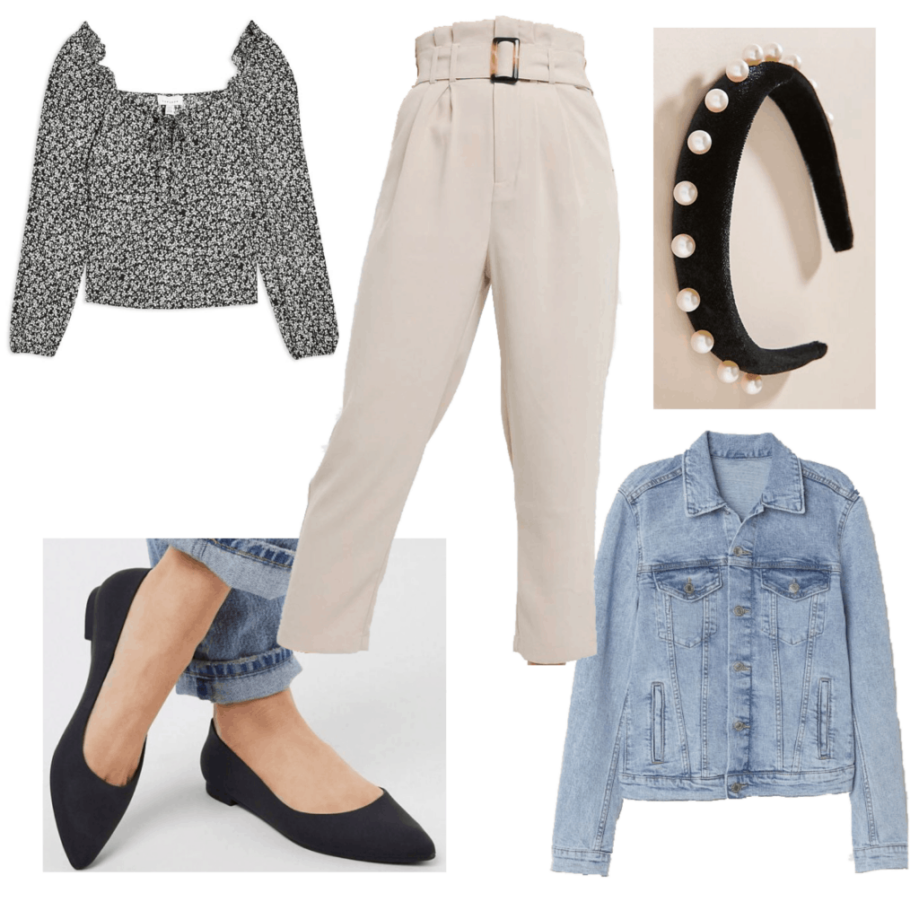 What to wear to brunch - Outfit set with tan pants and a patterned blouse, pearl headband and flats