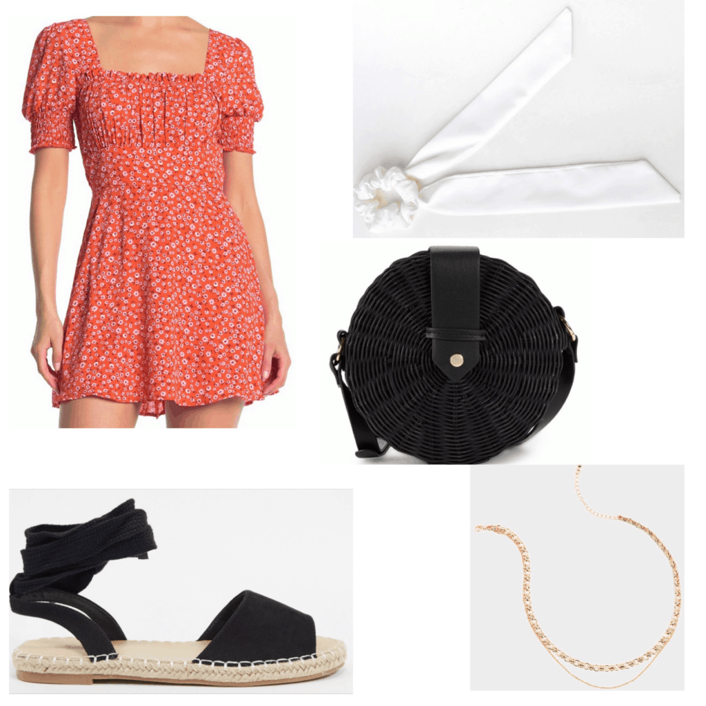 What to wear to brunch - Outfit set with a red floral dress, espadrilles, round bag, gold necklace, and bow hair ribbon