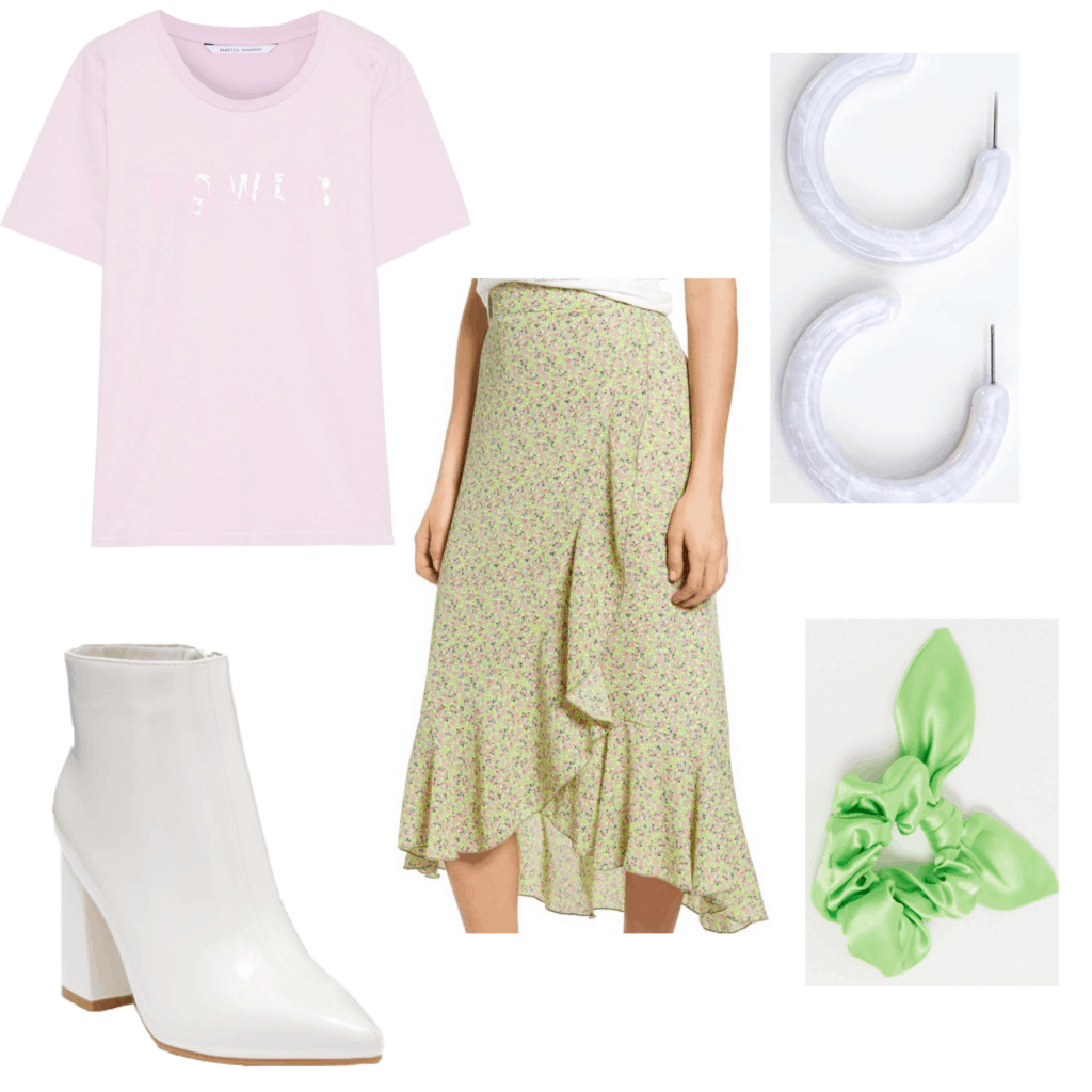 Outfit set with a pink shirt and floral skirt