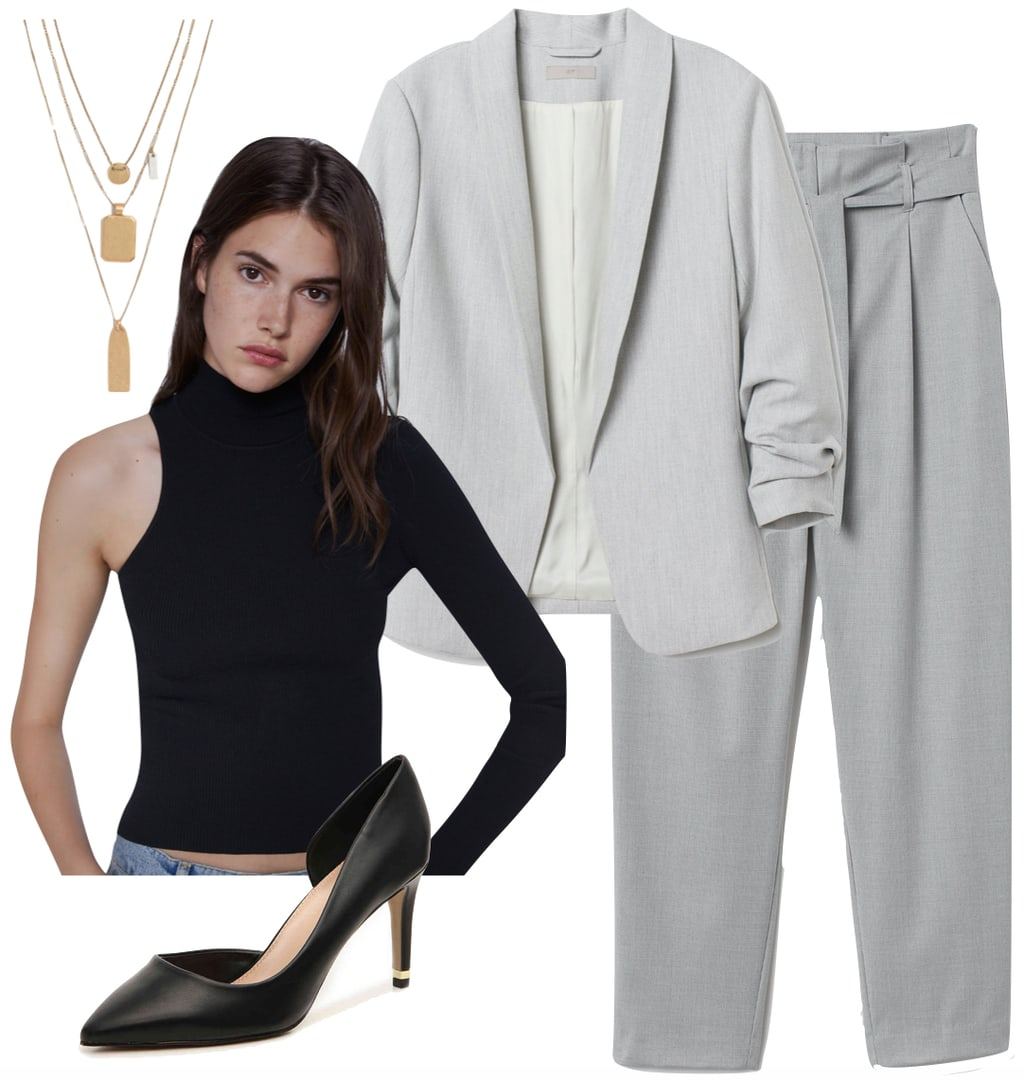 Blazer outfit for 2020 inspired by Yara Shahidi: Pantsuit, black bodysuit, gold jewelry, black pumps