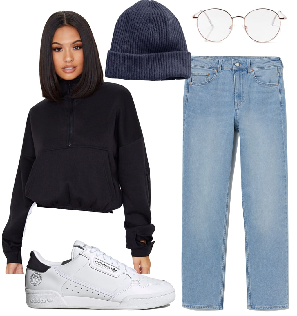 Casual clothes - Zendaya Outfit: black pocket front sweatshirt, navy blue rib beanie hat, round reader glasses, light blue straight leg jeans, and white low top sneakers
