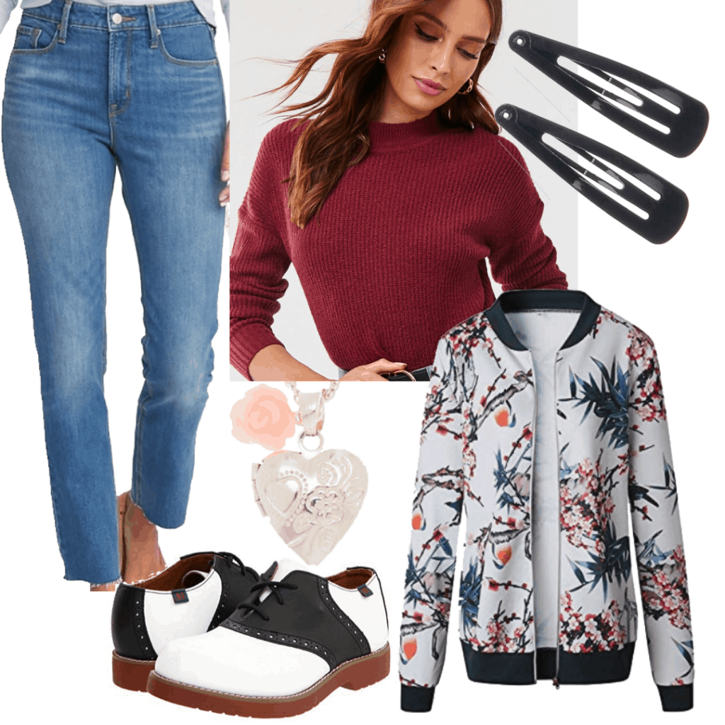 Lara Jean outfits ps I still love you: Red top, bomber jacket, medium wash jeans, hair accessories, oxfords