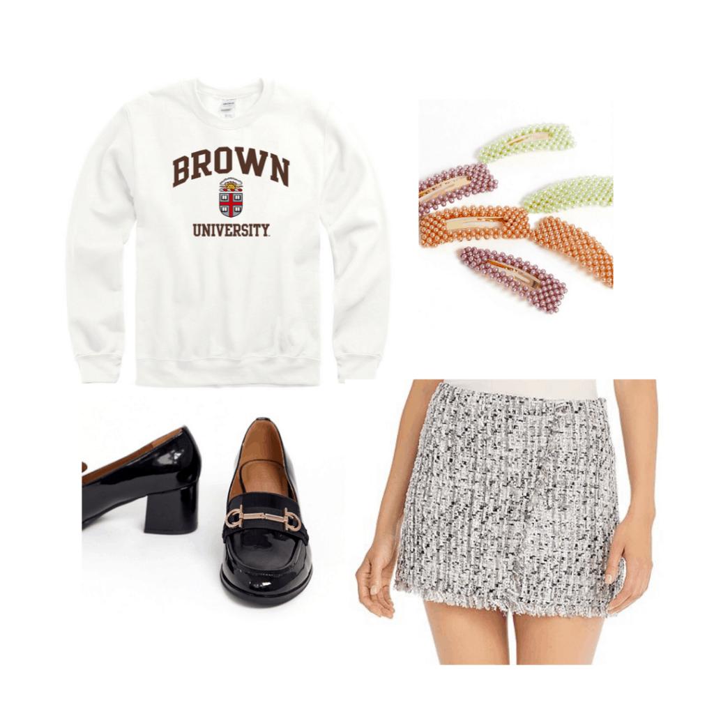 College sweatshirt outfit - Preppy look with Brown University sweatshirt, tweed skirt, oxfords, hair clips