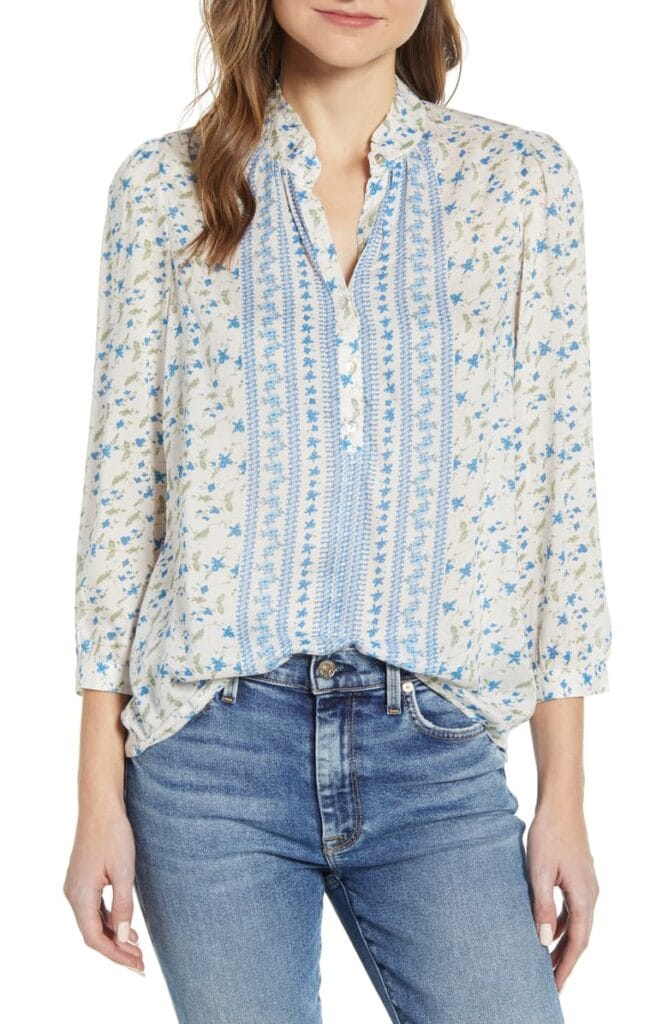 Lucky Brand floral blue and white blouse