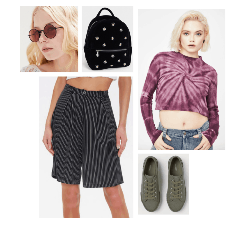 California outfit inspired by Rue's style from Euphoria with striped bermuda shorts, tie dye crop top, mini backpack, sneakers