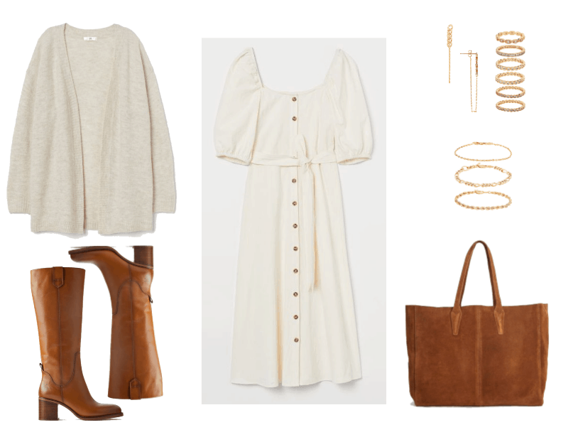 Cold Spring Outfit #1: white peasant dress, white sweater, brown boots