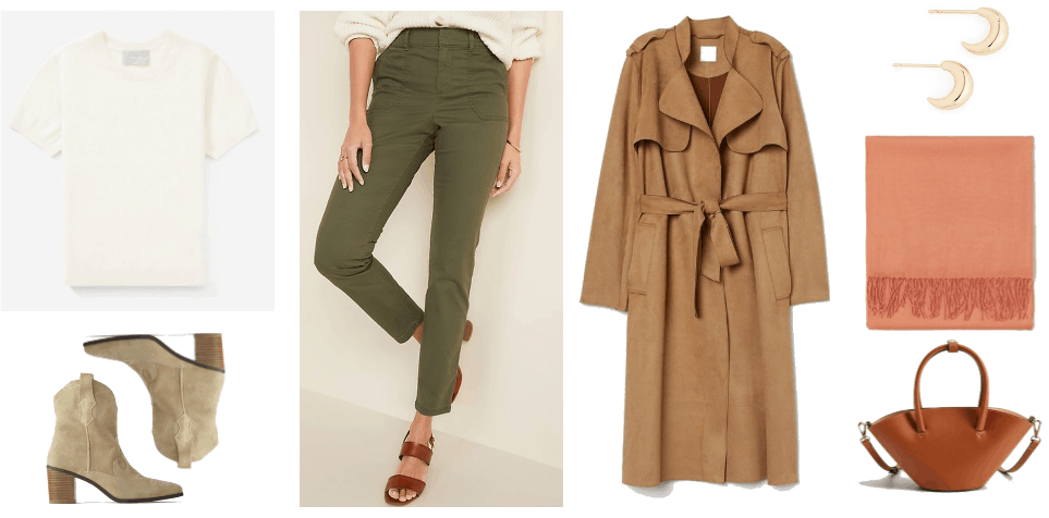Cold Spring Outfit 3: cream tee, green high waisted jeans, booties, brown trench