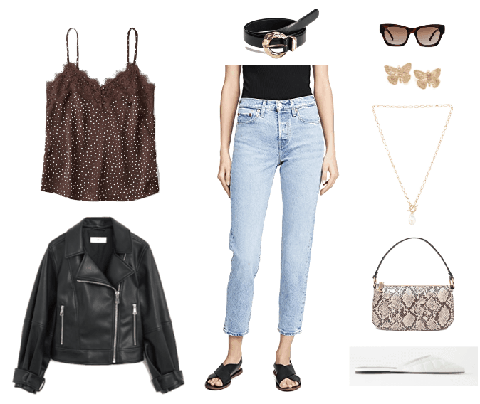 Outfit Guide 1: brown lace camisole, black motorcycle jacket, distressed denim jeans, black belt, white slides, gold accessories, snakeskin purse
