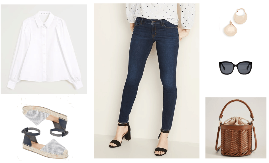 Outfit 1: white button up blouse, dark wash jeans, striped espadrille shoes, black oversized sunglasses, gold earrings, and a brown bucket bag