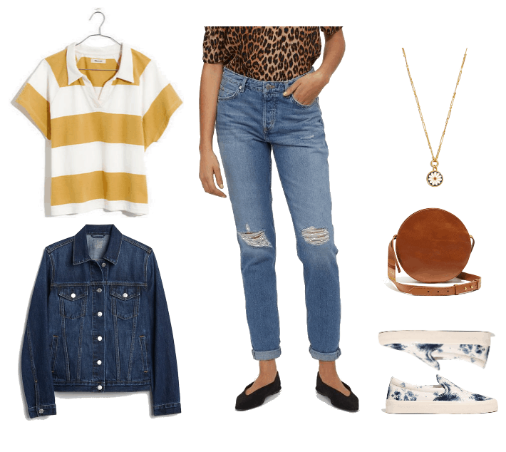 Outfit 2: white and yellow sporty polo, low rise boyfriend jeans, dark blue denim jacket, tie dye sneakers, brown leather crossbody bag